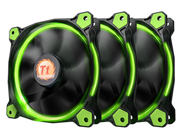 Cooler pack Thermaltake Riing 12 LED Green (pack de 3 ventiladores)